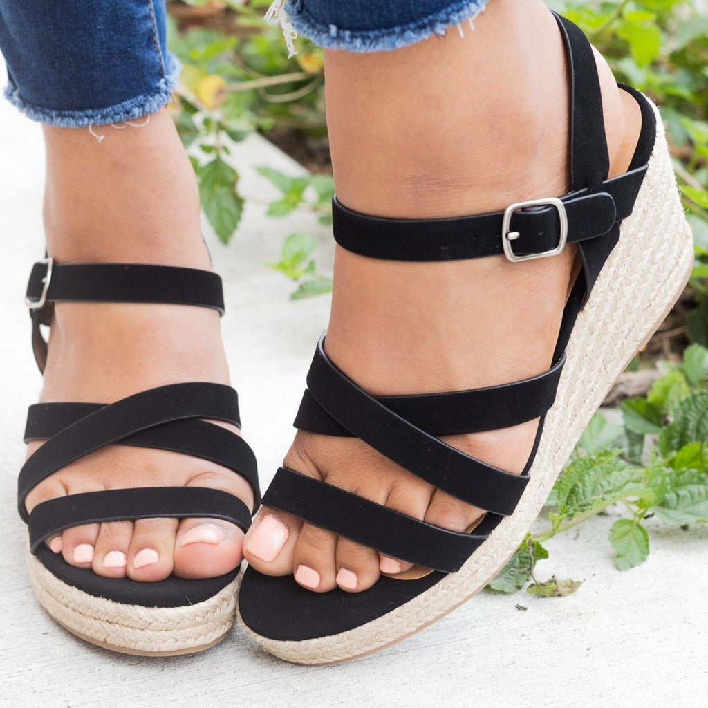 Womens Summer Strappy Espadrille Wedges - City Classified Shoes