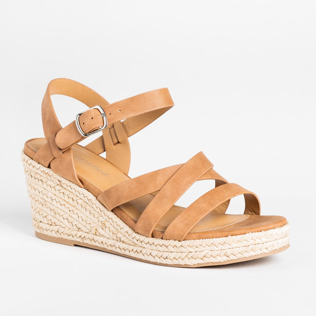 Womens Summer Strappy Espadrille Wedges - City Classified Shoes - Tan / 5