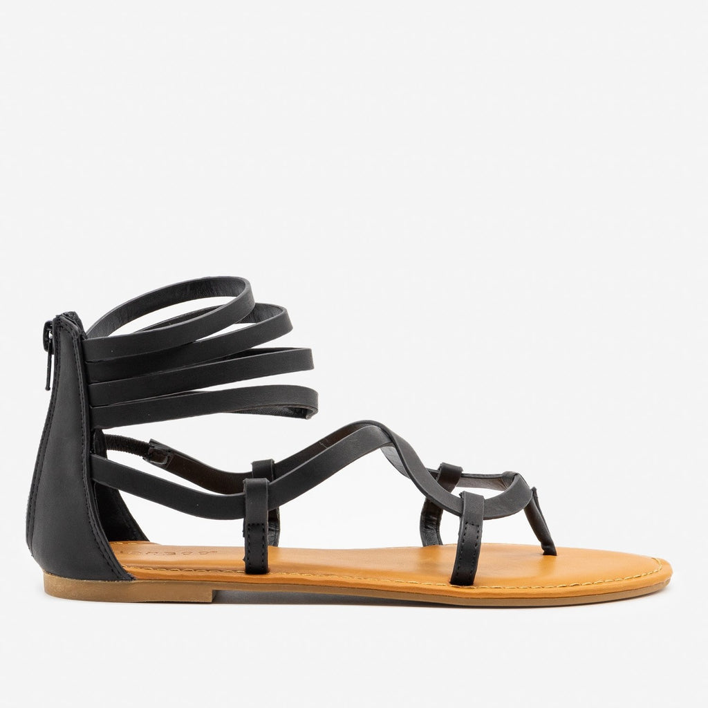 Women's Summertime Strappy Sandals - Bamboo Shoes - Black / 5