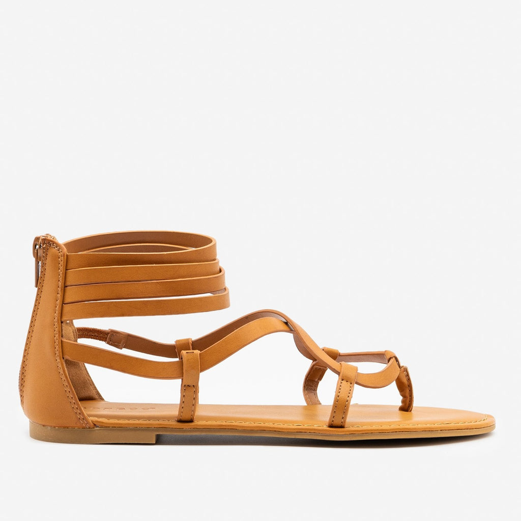 Women's Summertime Strappy Sandals - Bamboo Shoes - Tan / 5