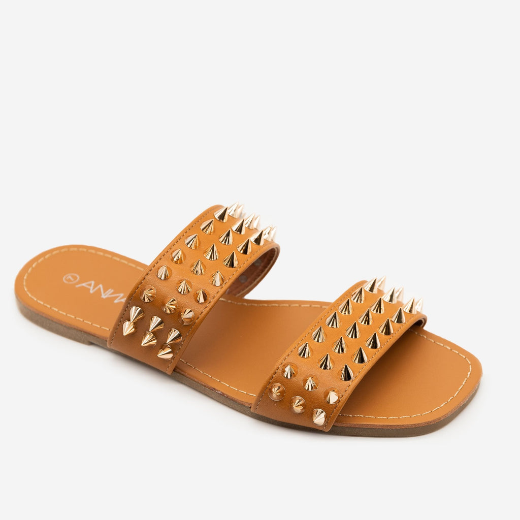 Women's Super Studded Summer Sandals - Anna Shoes - Tan / 5
