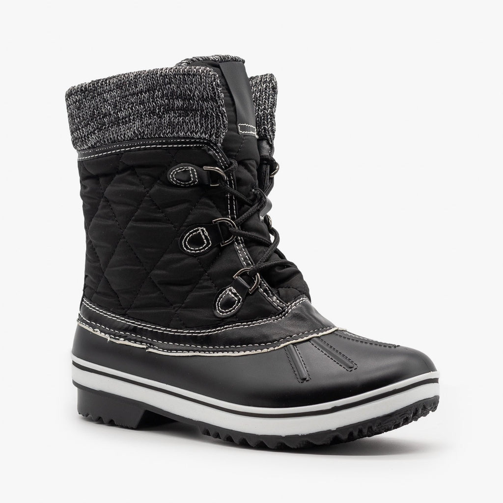 Womens Sweater Cuff Quilted Snow Boots - Forever - Black / 5