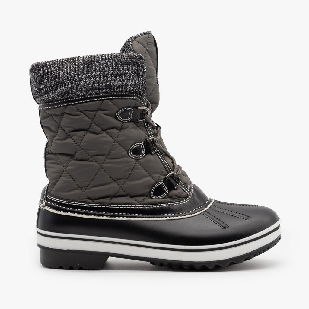 Womens Sweater Cuff Quilted Snow Boots - Forever