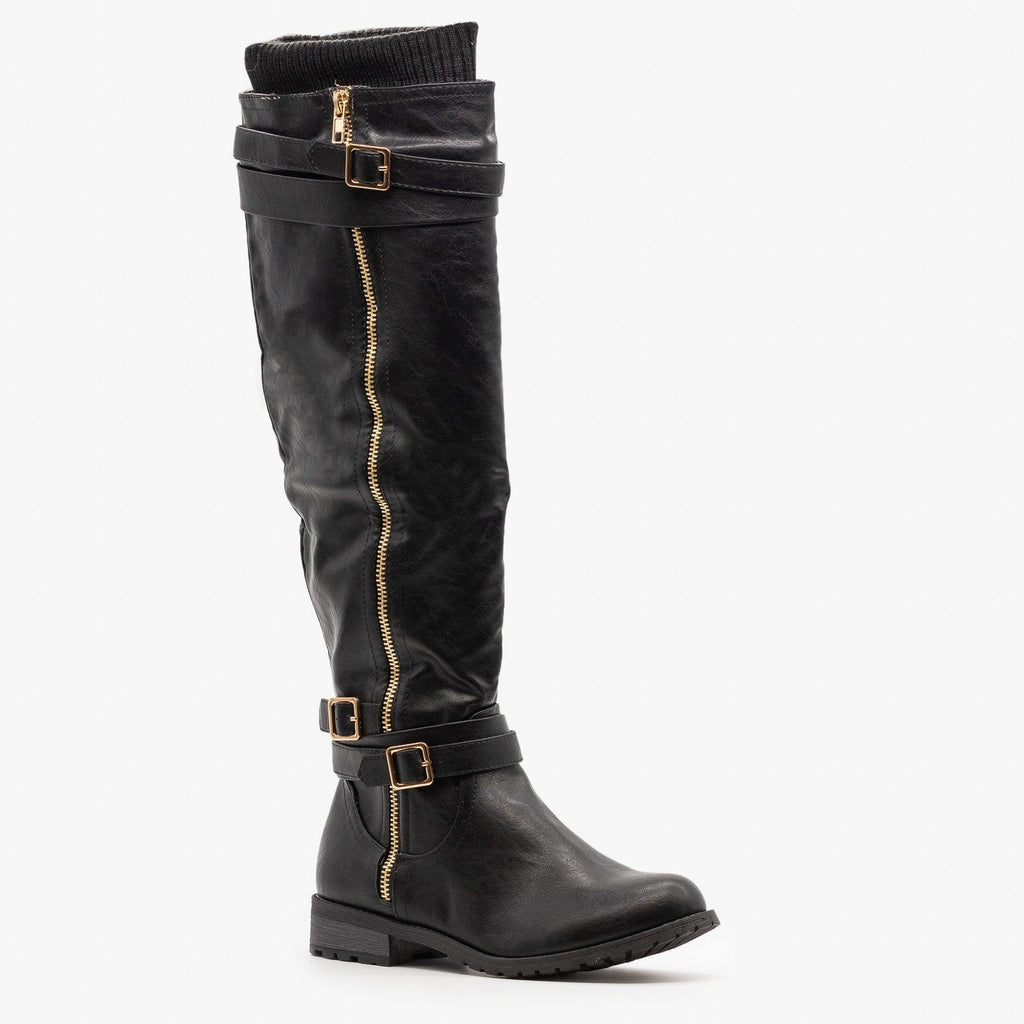Womens Sweater Cuffed Knee High Boots - Forever