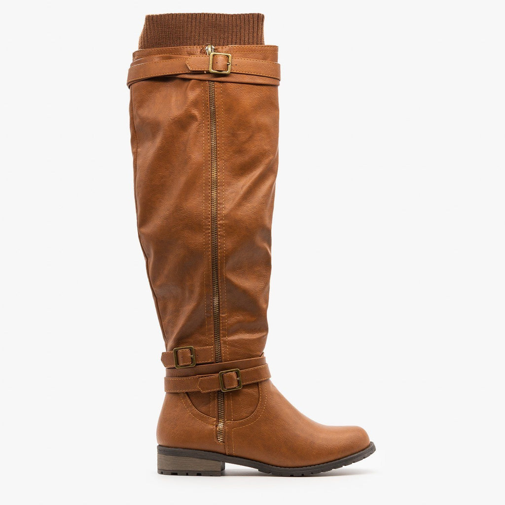 Womens Sweater Cuffed Knee High Boots - Forever - Tan / 5