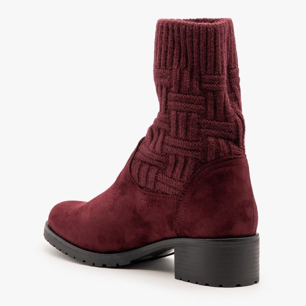 Womens Sweater Top Booties - Via Pinky