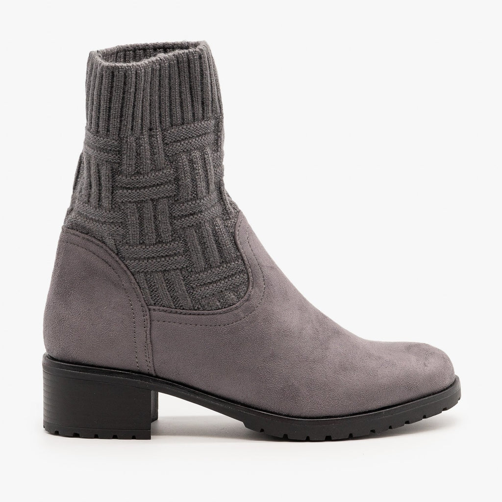 Womens Sweater Top Booties - Via Pinky - Gray / 5
