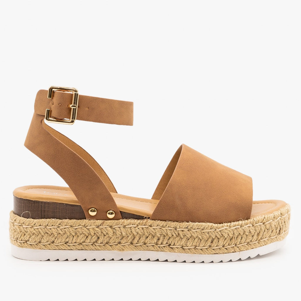 Womens Sweet and Simple Espadrille Platform Sandals - Top Moda - Tan Faux Nubuck / 5