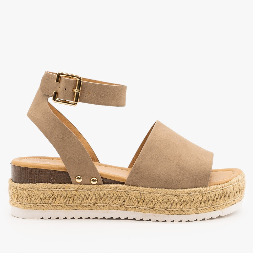 Womens Sweet and Simple Espadrille Platform Sandals - Top Moda - Khaki / 5