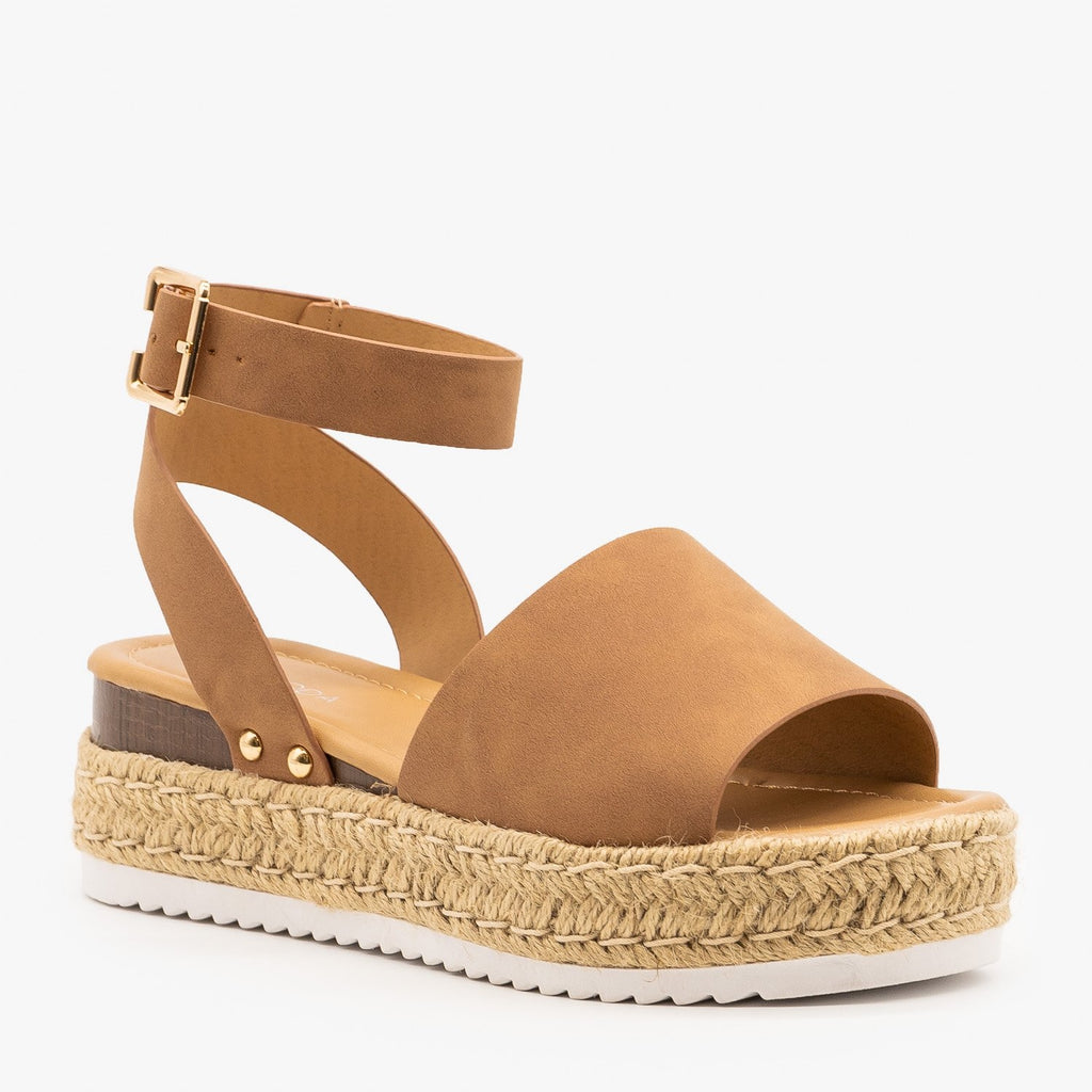 Womens Sweet and Simple Espadrille Platform Sandals - Top Moda