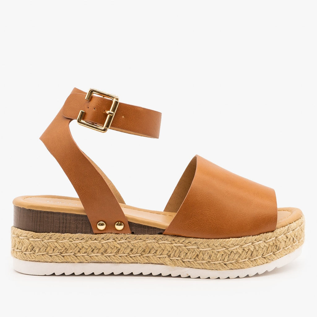 Womens Sweet and Simple Espadrille Platform Sandals - Top Moda - Tan Faux Leather / 5