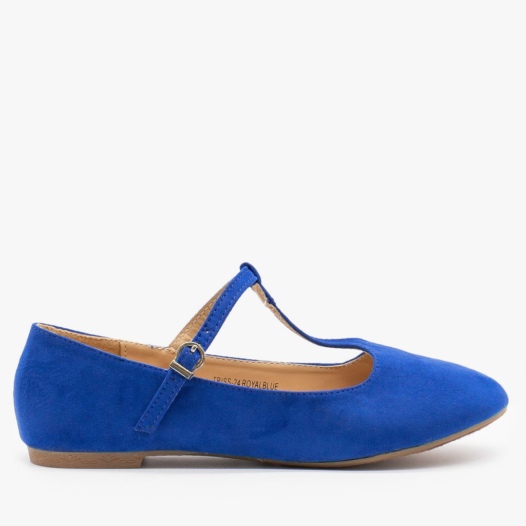 Womens Sweet T-Strap Ballet Flats - Bella Marie - Royal Blue / 5