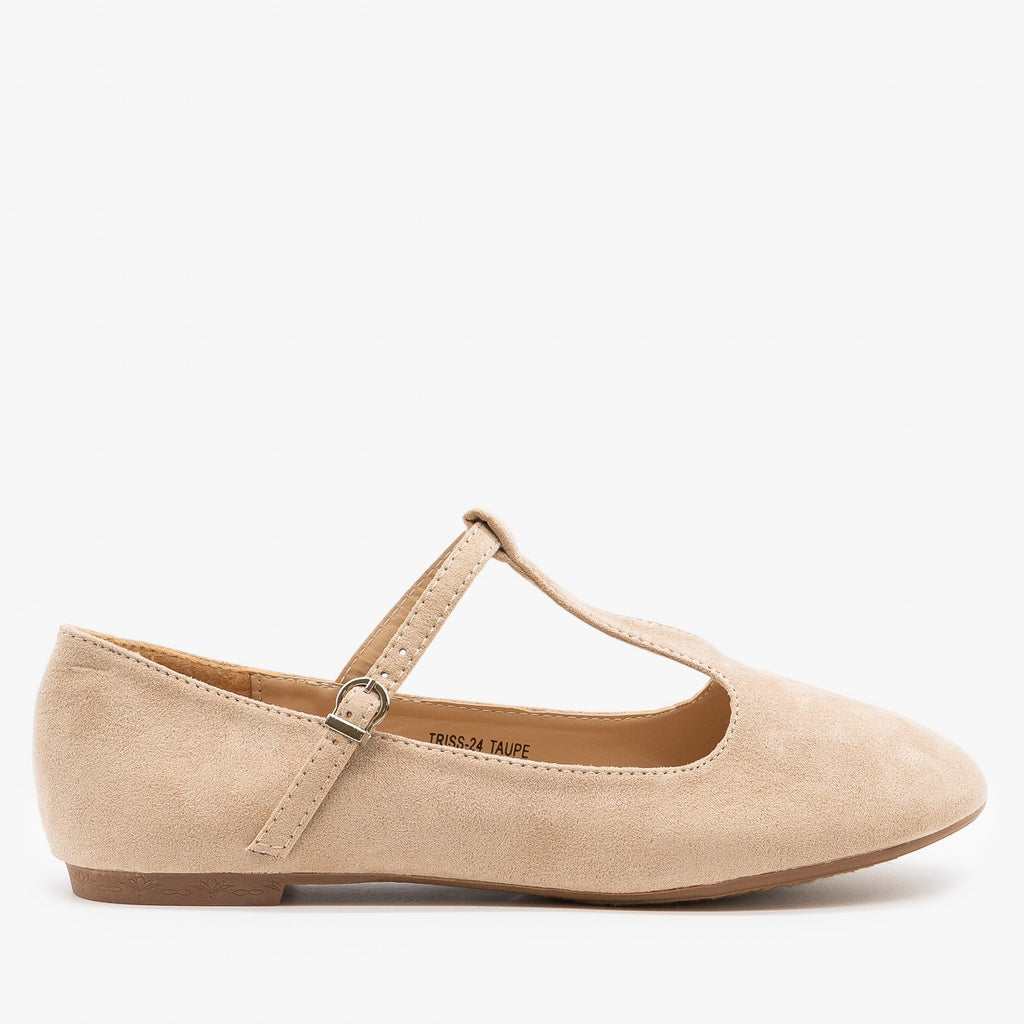 Womens Sweet T-Strap Ballet Flats - Bella Marie - Taupe / 5