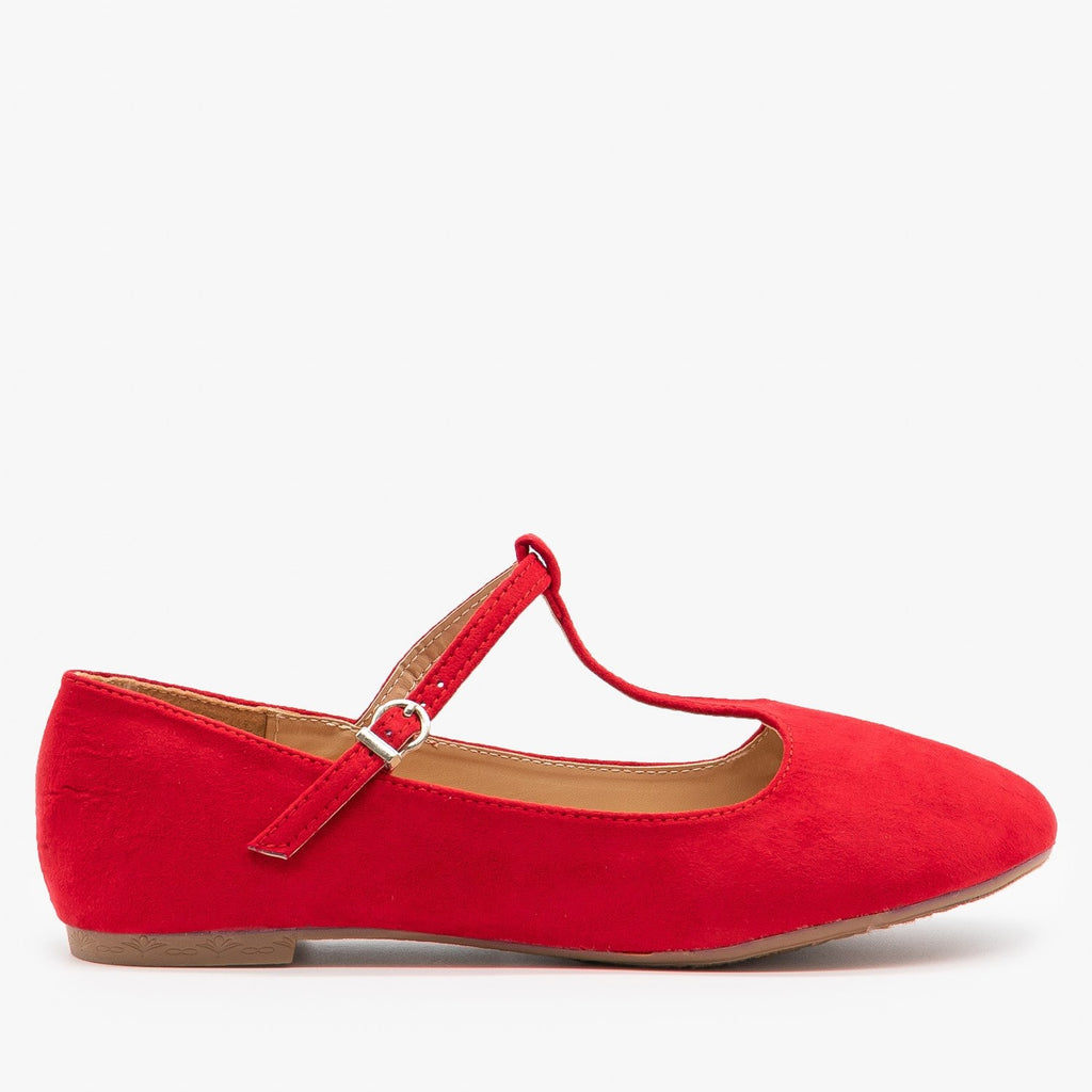 Womens Sweet T-Strap Ballet Flats - Bella Marie - Red / 5