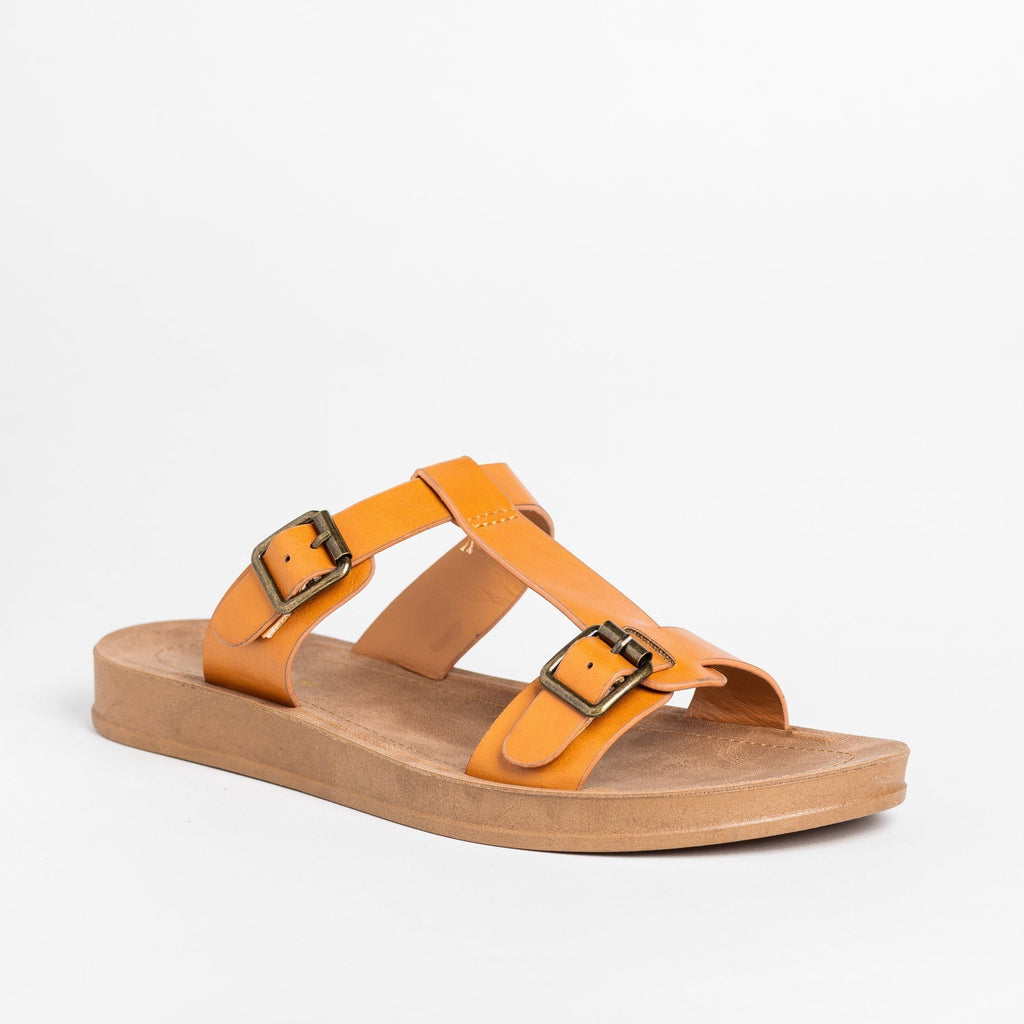 Womens T-Strap Double Buckle Sandals - Bamboo Shoes - Chestnut / 5