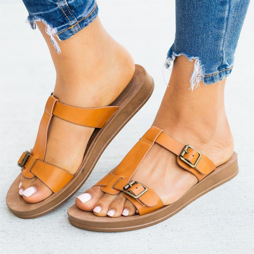 Womens T-Strap Double Buckle Sandals - Bamboo Shoes