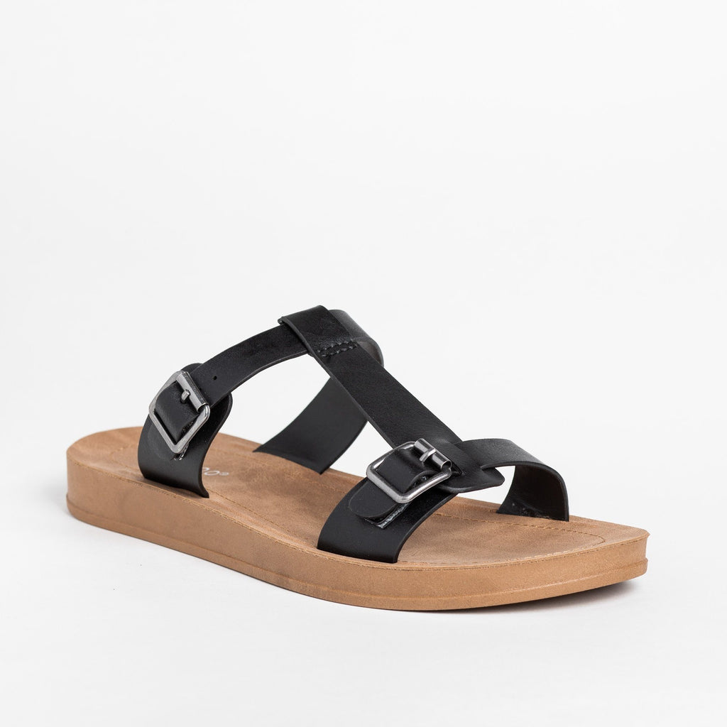 Womens T-Strap Double Buckle Sandals - Bamboo Shoes - Black / 5