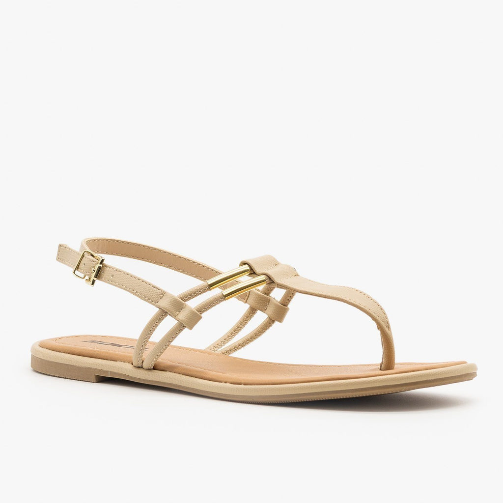 Womens T-Strap Slingback Sandals - Soda Shoes - Nude / 5