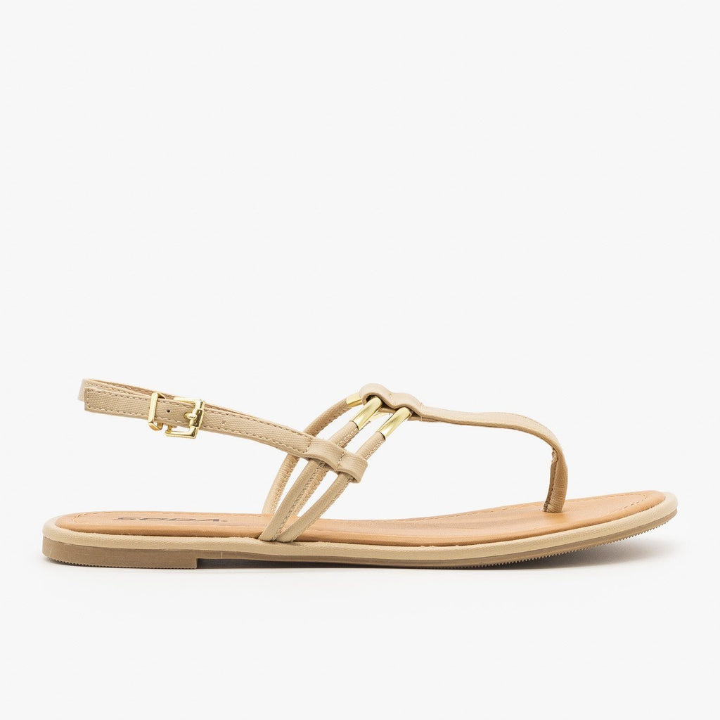 Womens T-Strap Slingback Sandals - Soda Shoes