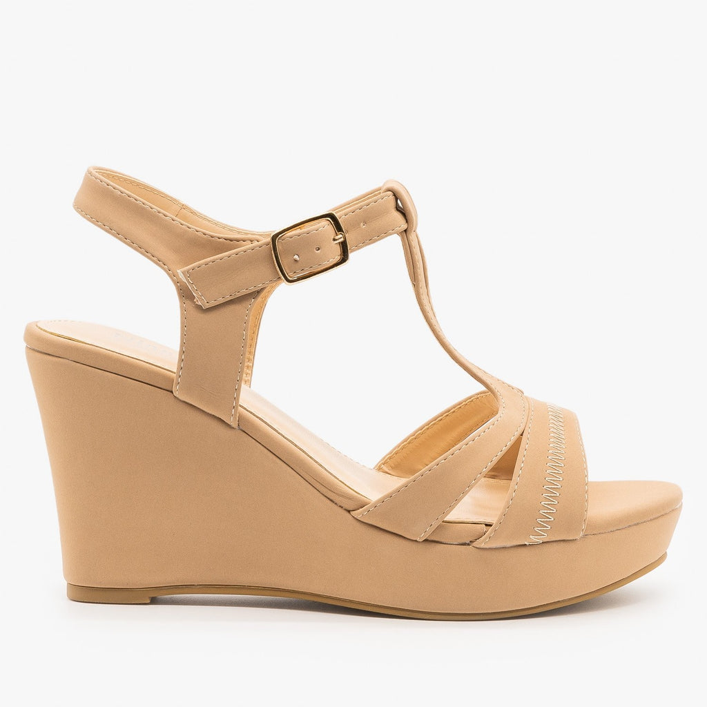 Womens T-Strap Wedge Sandals - Nine City Shoes - Taupe / 5