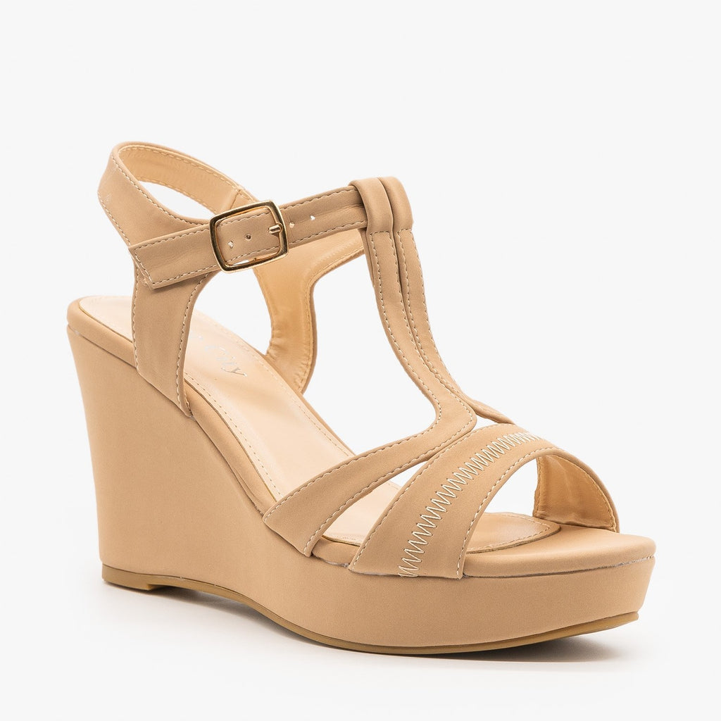 Womens T-Strap Wedge Sandals - Nine City Shoes