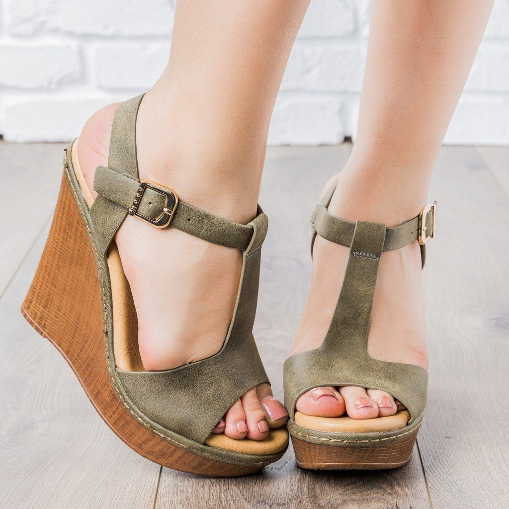 Womens T-Strap Wedges - vendor-unknown - Olive / 5