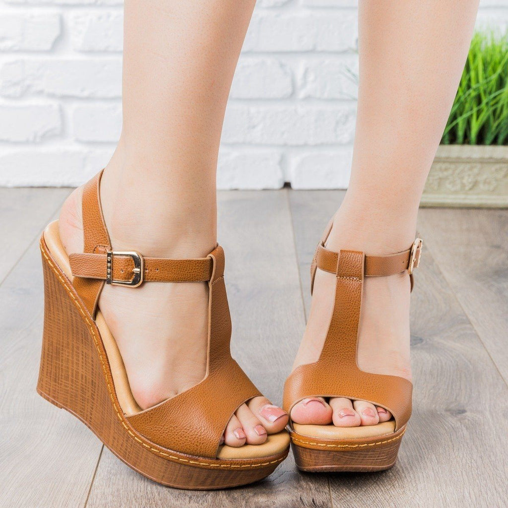 Womens T-Strap Wedges - vendor-unknown - Tan / 12