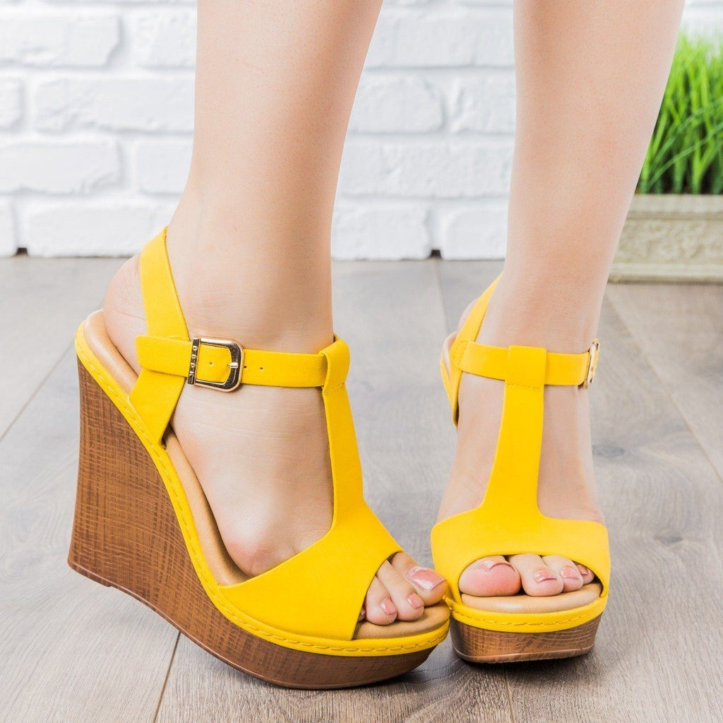 Womens T-Strap Wedges - vendor-unknown - Yellow / 5