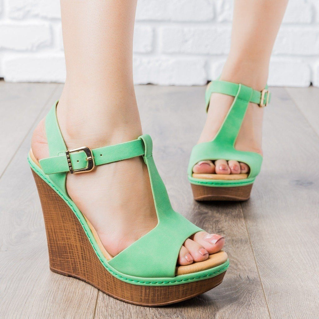 Womens T-Strap Wedges - vendor-unknown - Green / 5