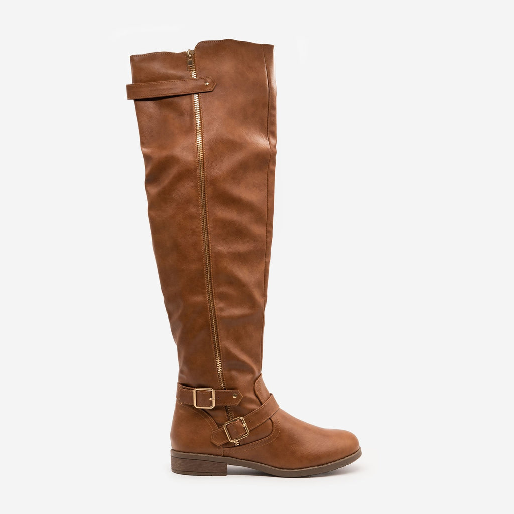 Women's Tall Buckled Boots - Forever - Tan / 5