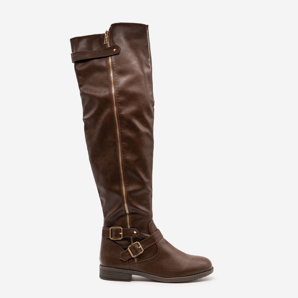 Women's Tall Buckled Boots - Forever - Brown / 5