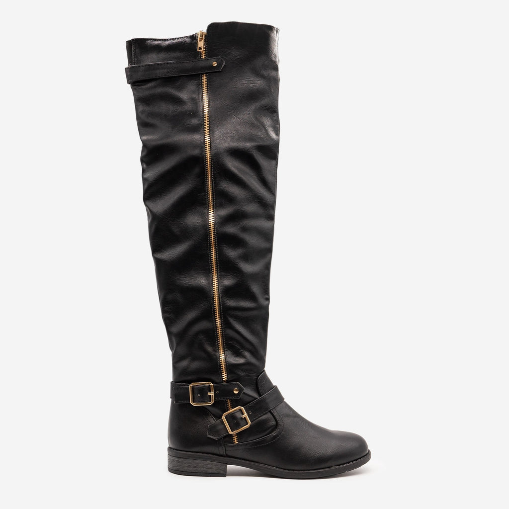 Women's Tall Buckled Boots - Forever - Black / 5