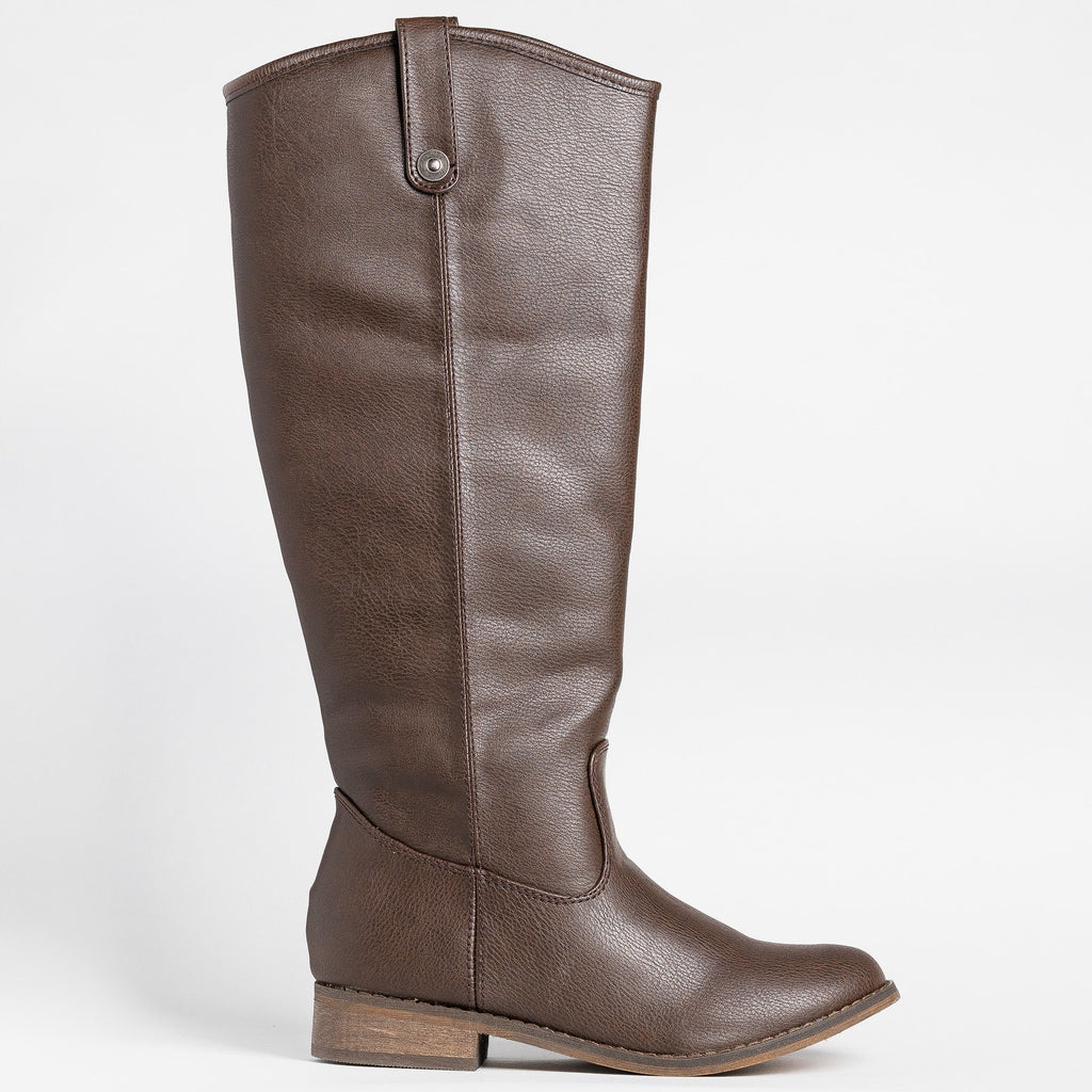 Womens Tall Faux Leather Boots - Breckelles - Brown / 5