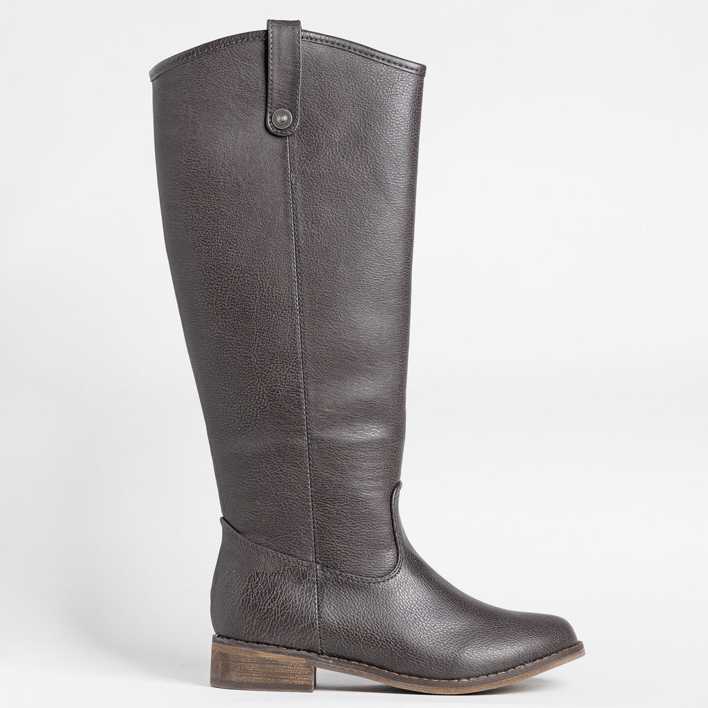 Womens Tall Faux Leather Boots - Breckelles - Gray / 5