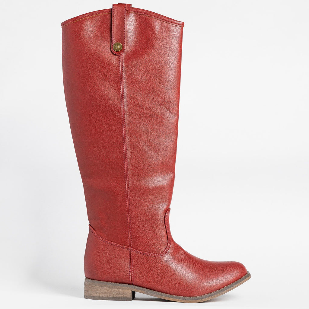 Womens Tall Faux Leather Boots - Breckelles - Red / 5