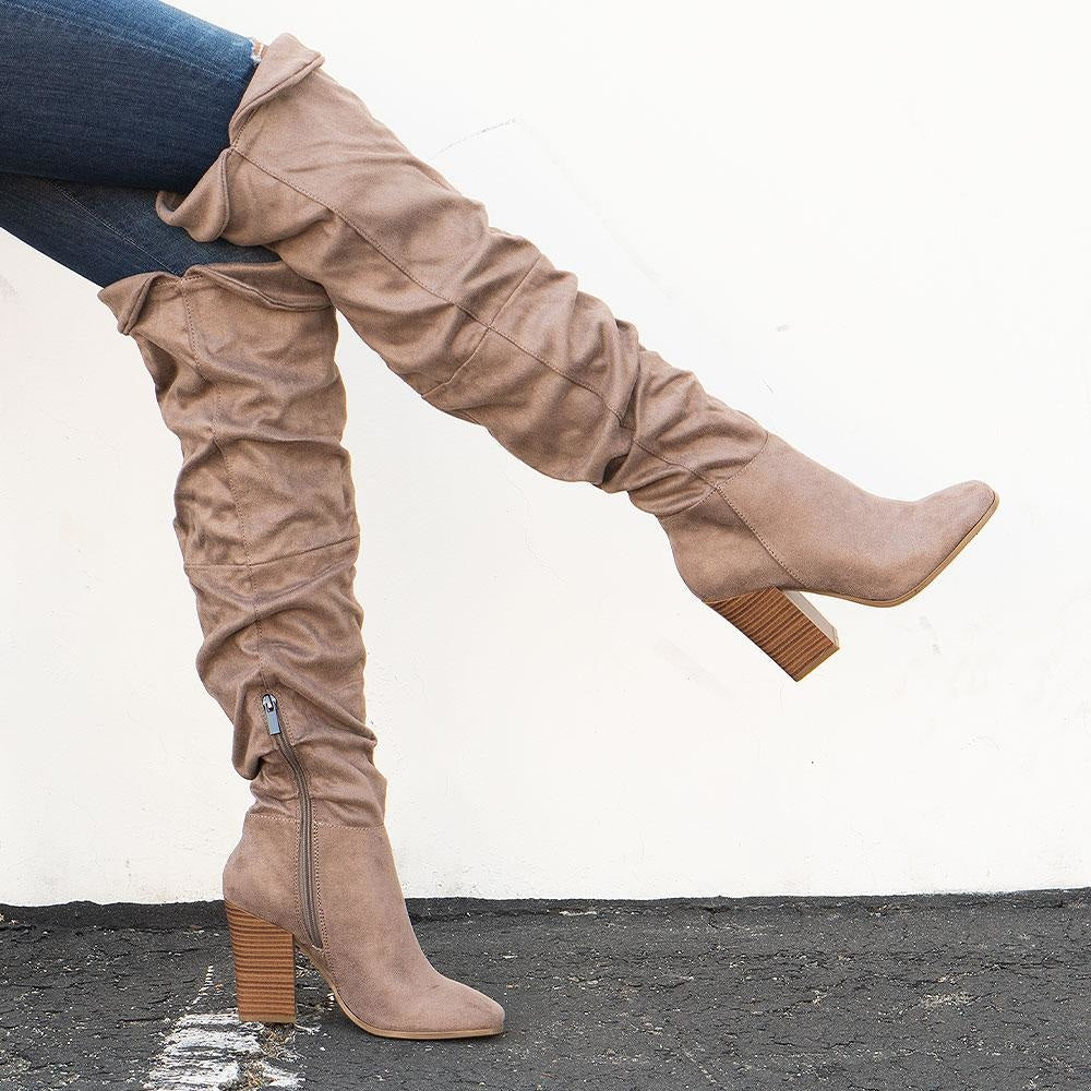 Women's Tall Scrunched Boots - Bamboo Shoes - Light Taupe / 5