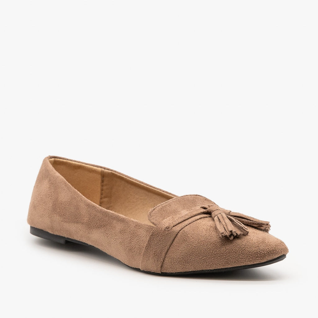 Womens Tassel Loafer Flats - Refresh - Stone / 5