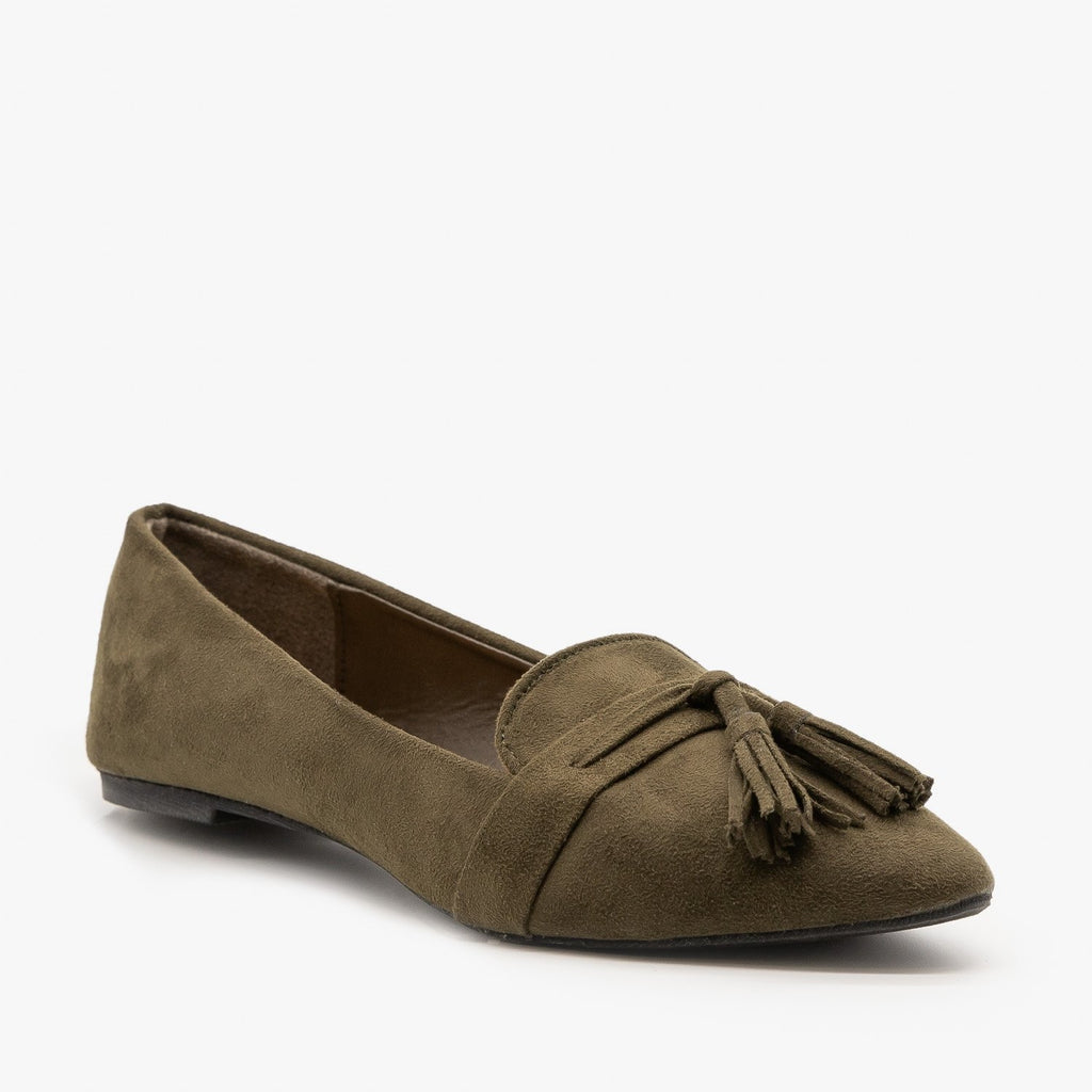 Womens Tassel Loafer Flats - Refresh - Olive / 5