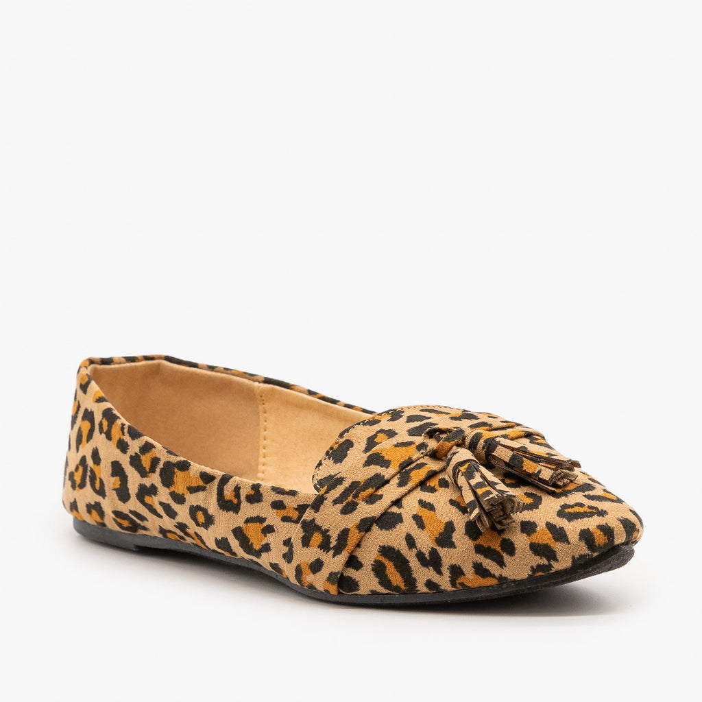 Womens Tassel Loafer Flats - Refresh - Leopard / 5