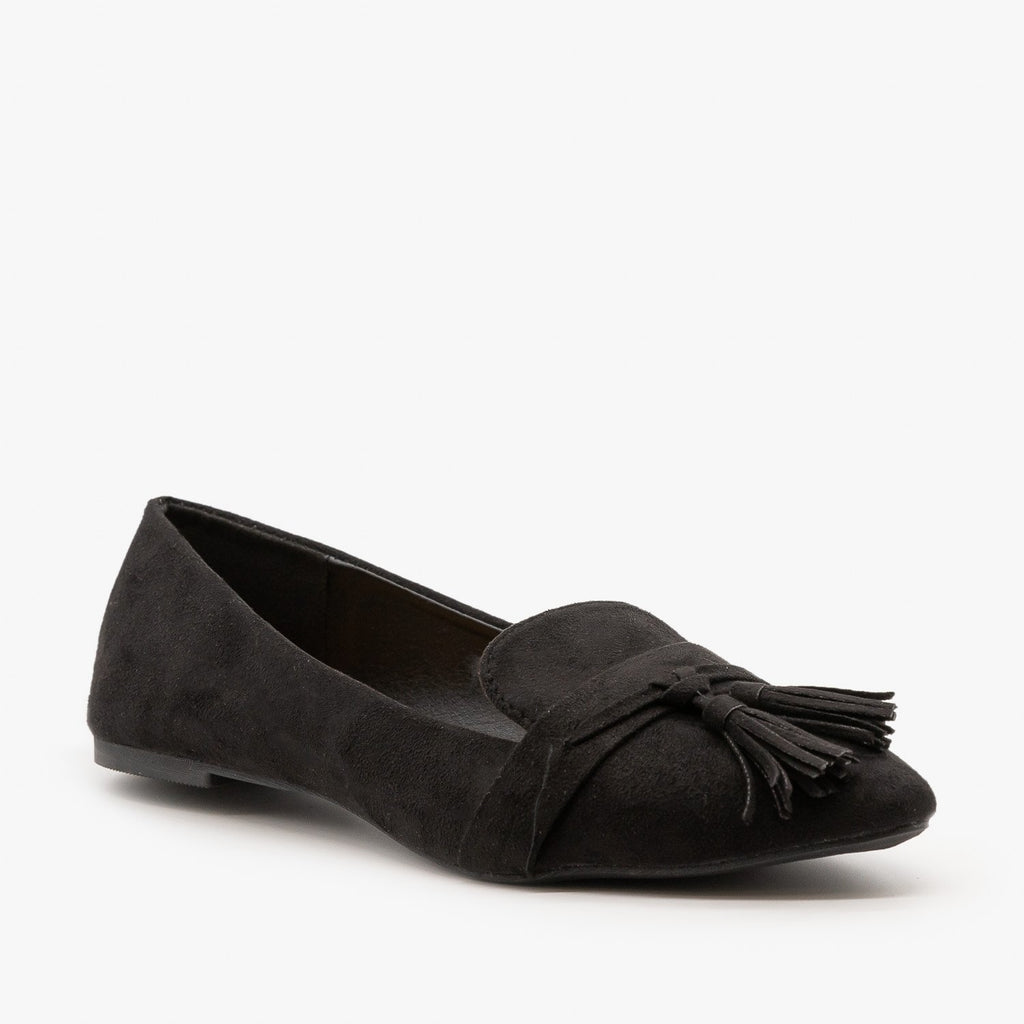 Womens Tassel Loafer Flats - Refresh - Black / 5