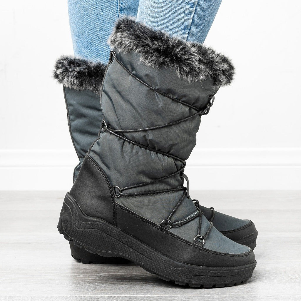 Womens Tassel Snow Boots - Refresh - Gray / 5