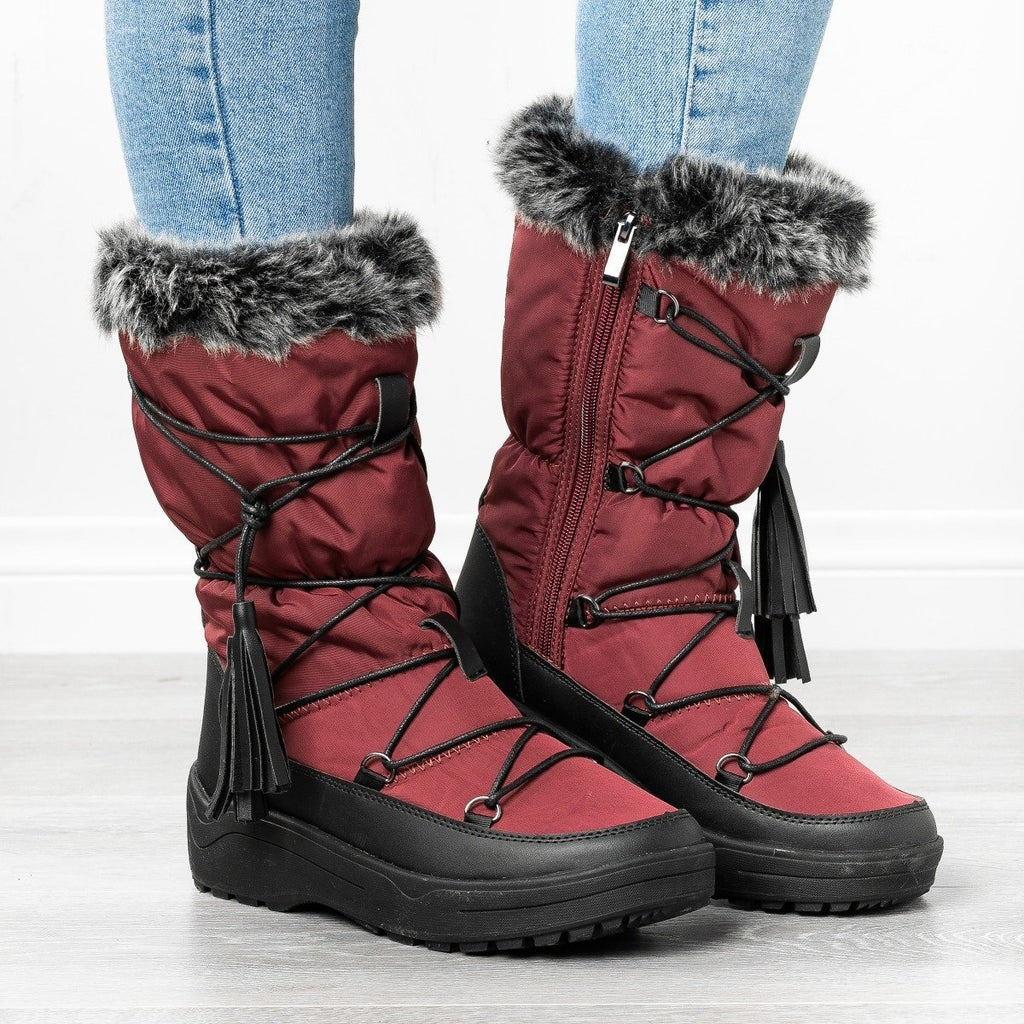Womens Tassel Snow Boots - Refresh - Wine / 5