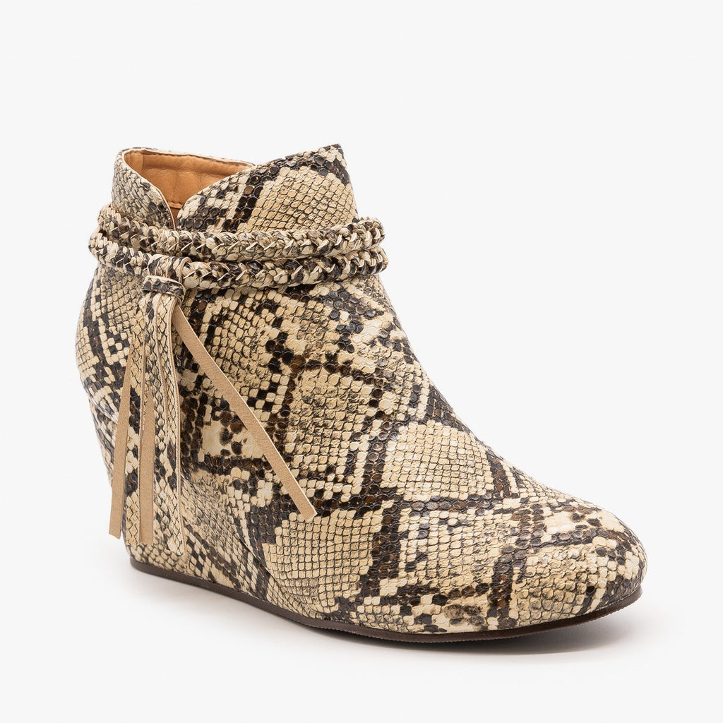 Womens Tasseled Animal Print Booties - Mata - Snake / 5