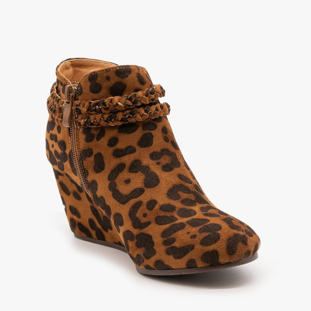 Womens Tasseled Animal Print Booties - Mata - Leopard / 5