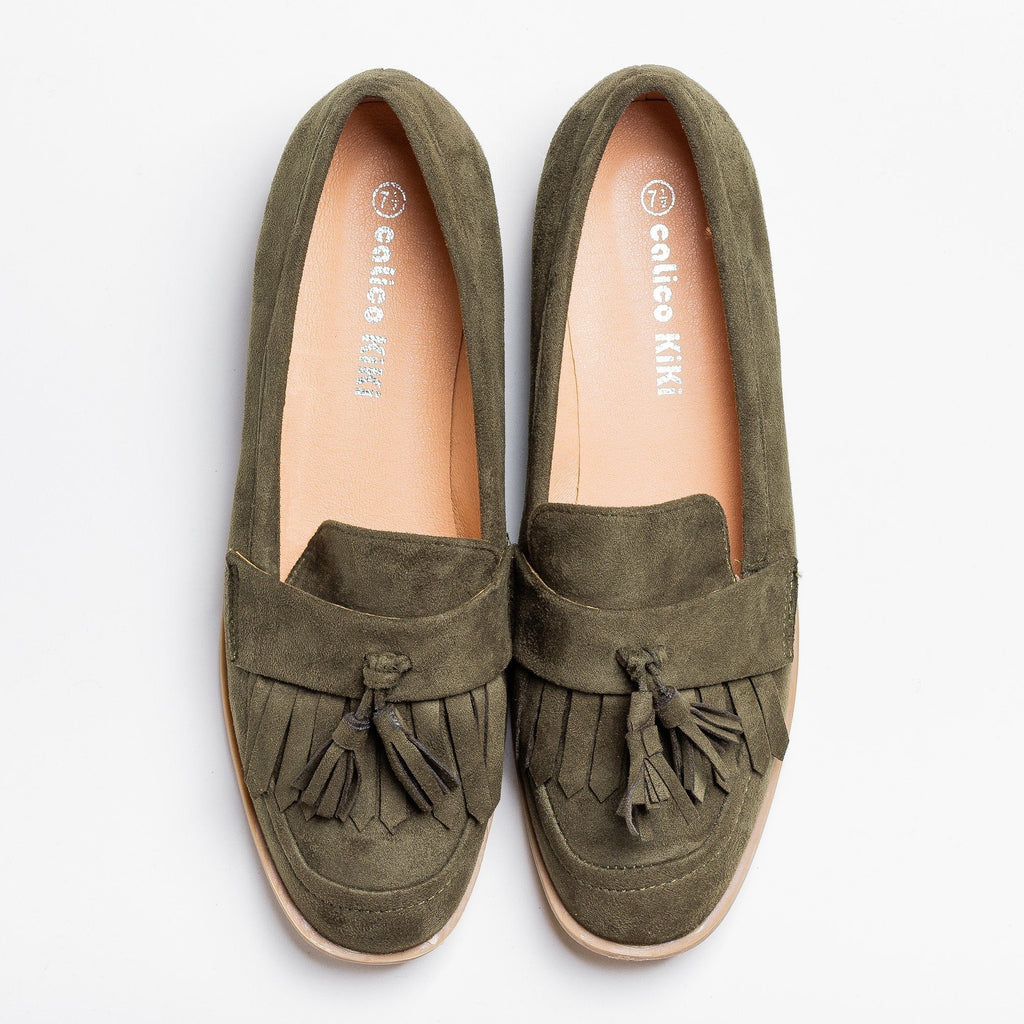 Womens Tasseled Fringe Loafer Flats - Calico Kiki - Olive / 5