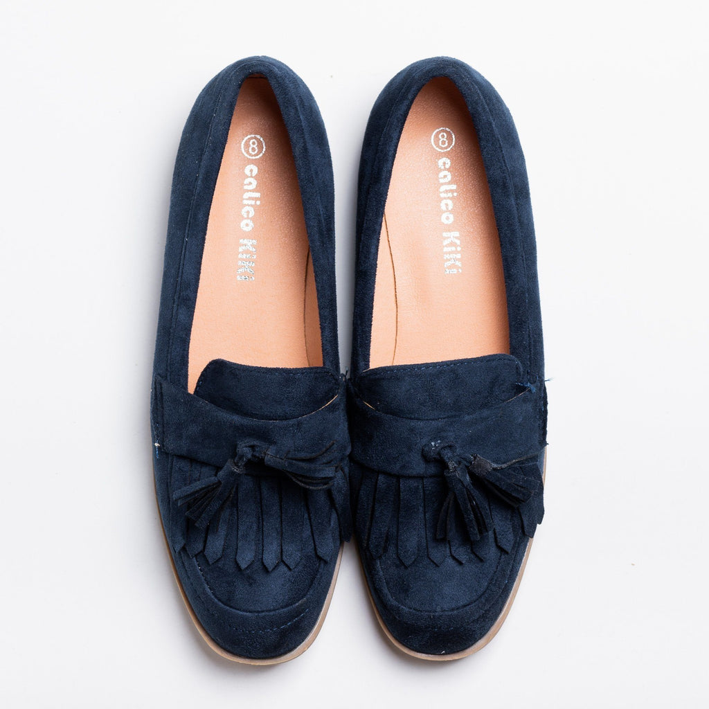 Womens Tasseled Fringe Loafer Flats - Calico Kiki - Navy / 5