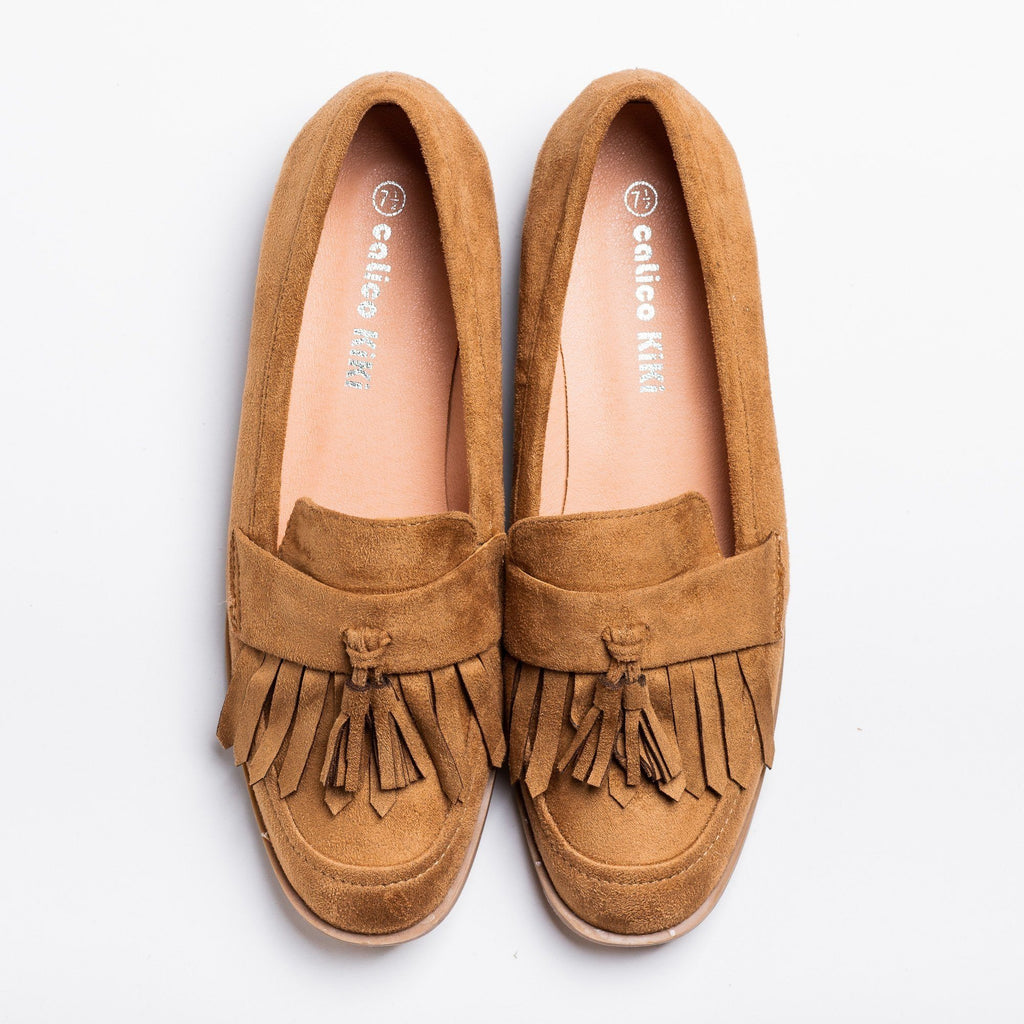 Womens Tasseled Fringe Loafer Flats - Calico Kiki - Taupe / 5