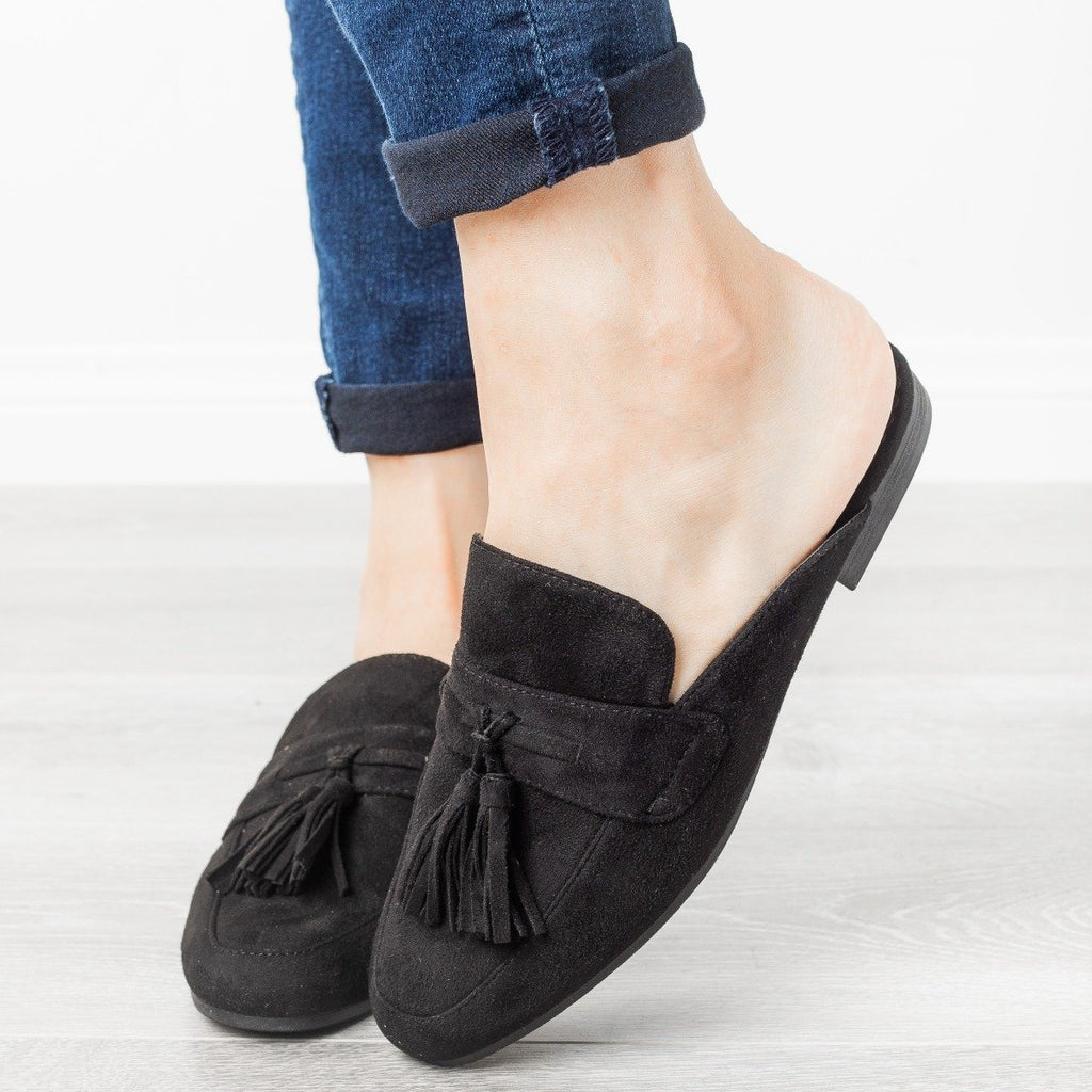 Womens Tasseled Loafer Mules - Refresh - Black / 7