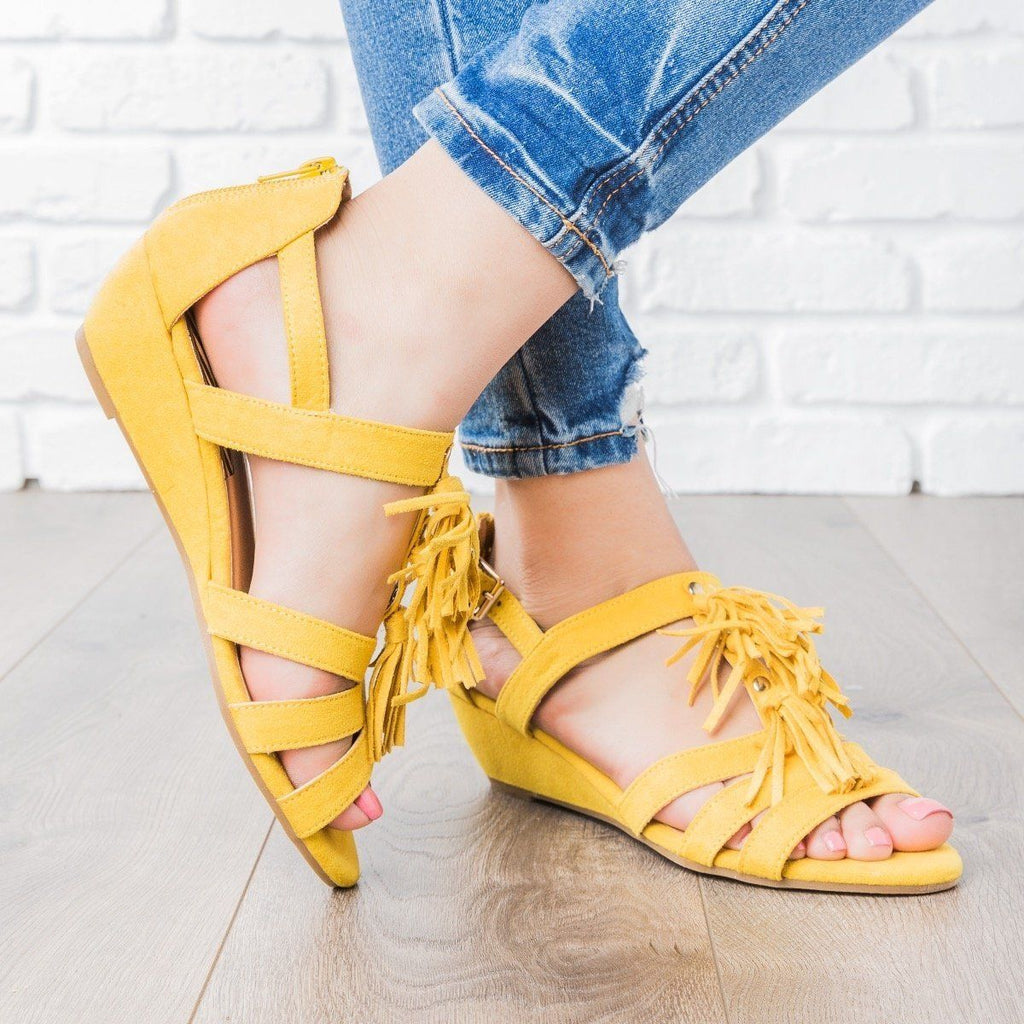 Womens Tassle Wedge Sandals - Qupid Shoes