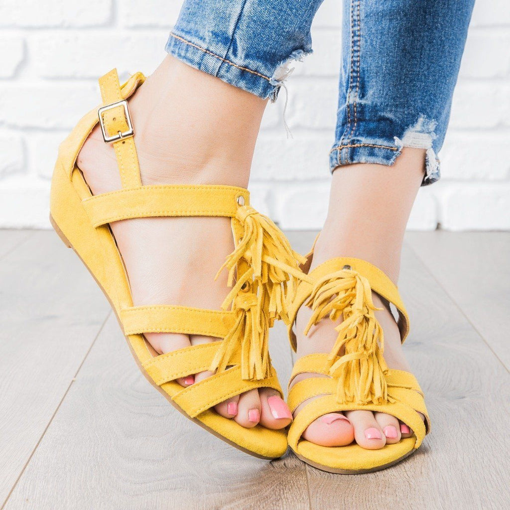Womens Tassle Wedge Sandals - Qupid Shoes - Yellow / 7.5